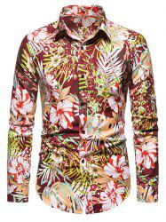 Tropical Flower Print Long Sleeve Shirt -