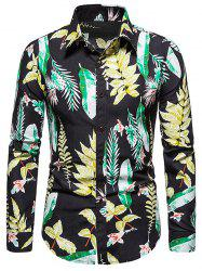 Long Sleeves Leaves Printed Shirt -