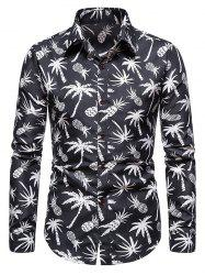 Palm Tree Pineapple Print Long Sleeve Shirt -