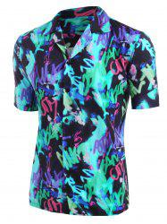 Graffiti Allover Print Button Up Shirt -