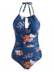 Halter Floral Cutout Ruched One-piece Swimsuit -