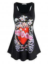Plus Size Skull Heart Printed Racerback Tank Top -