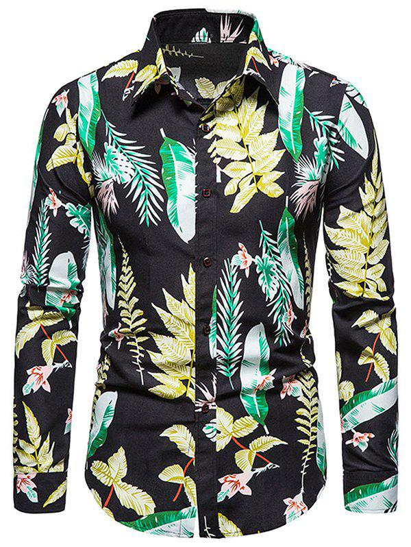 Discount Long Sleeves Leaves Printed Shirt