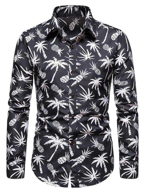 New Palm Tree Pineapple Print Long Sleeve Shirt