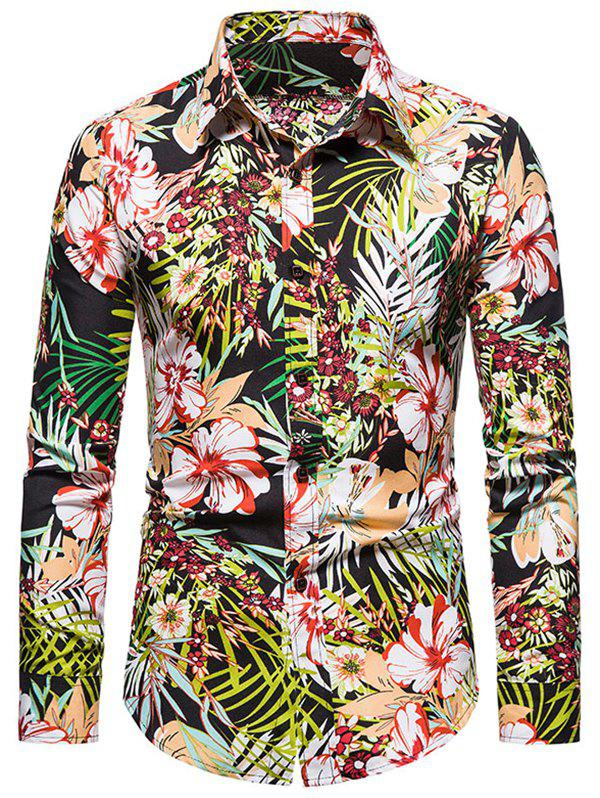 Outfits Tropical Flower Print Long Sleeve Shirt