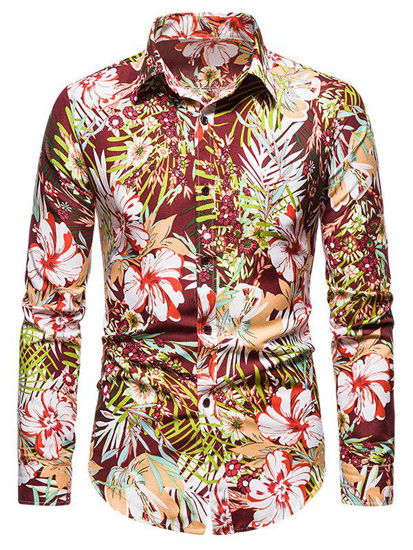 Discount Tropical Flower Print Long Sleeve Shirt