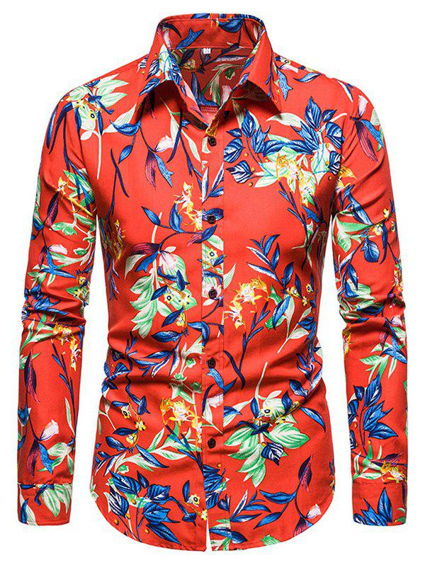 Discount Leaves Flower Print Long Sleeve Shirt