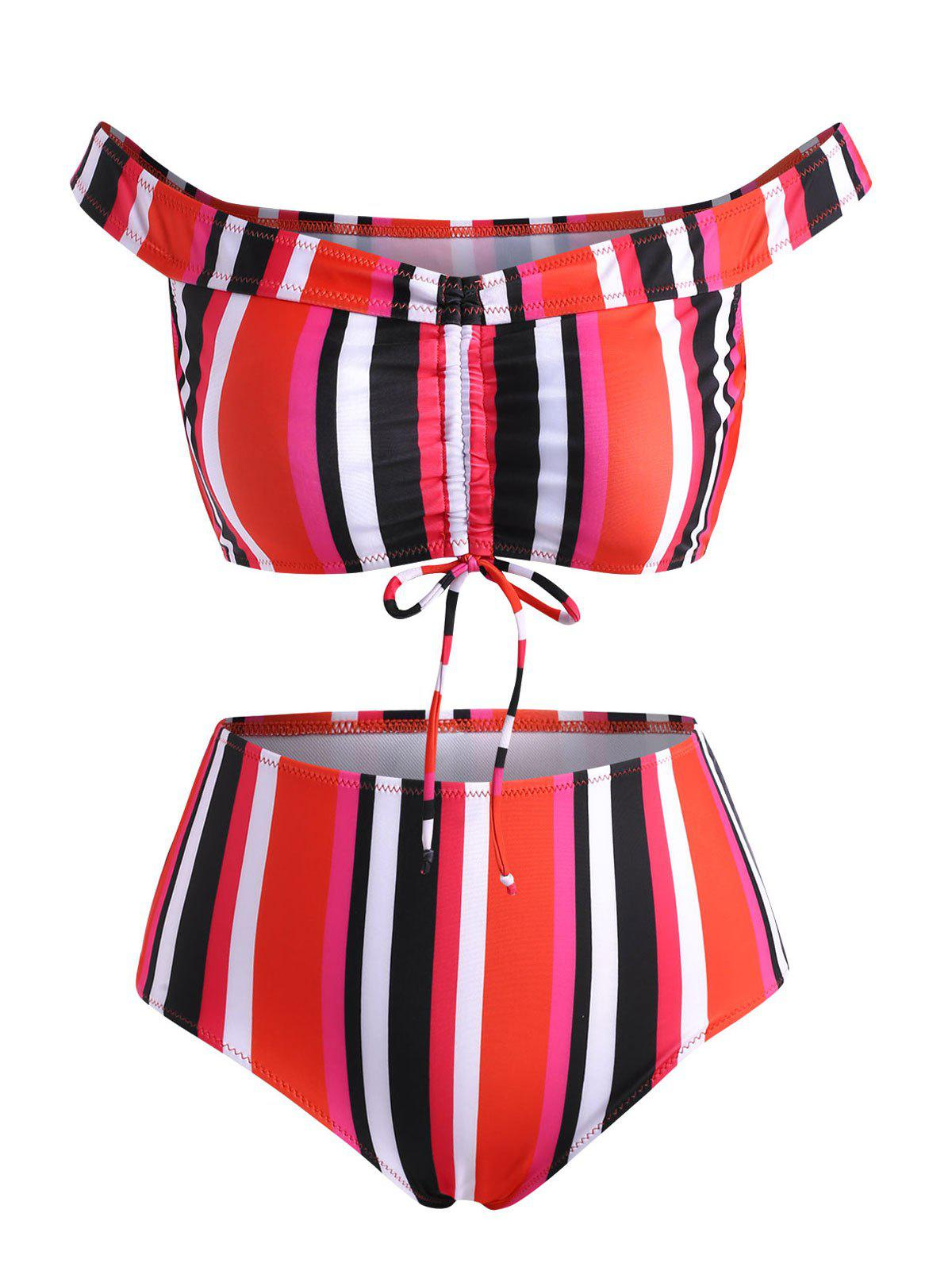 Affordable Off The Shoulder Colorful Striped Cinched Ruched Bikini Swimwear
