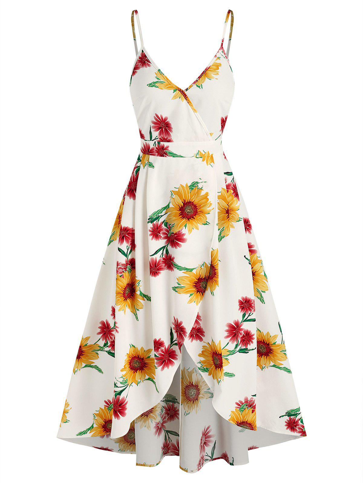 Outfits Sunflower Print High Low Surplice Dress