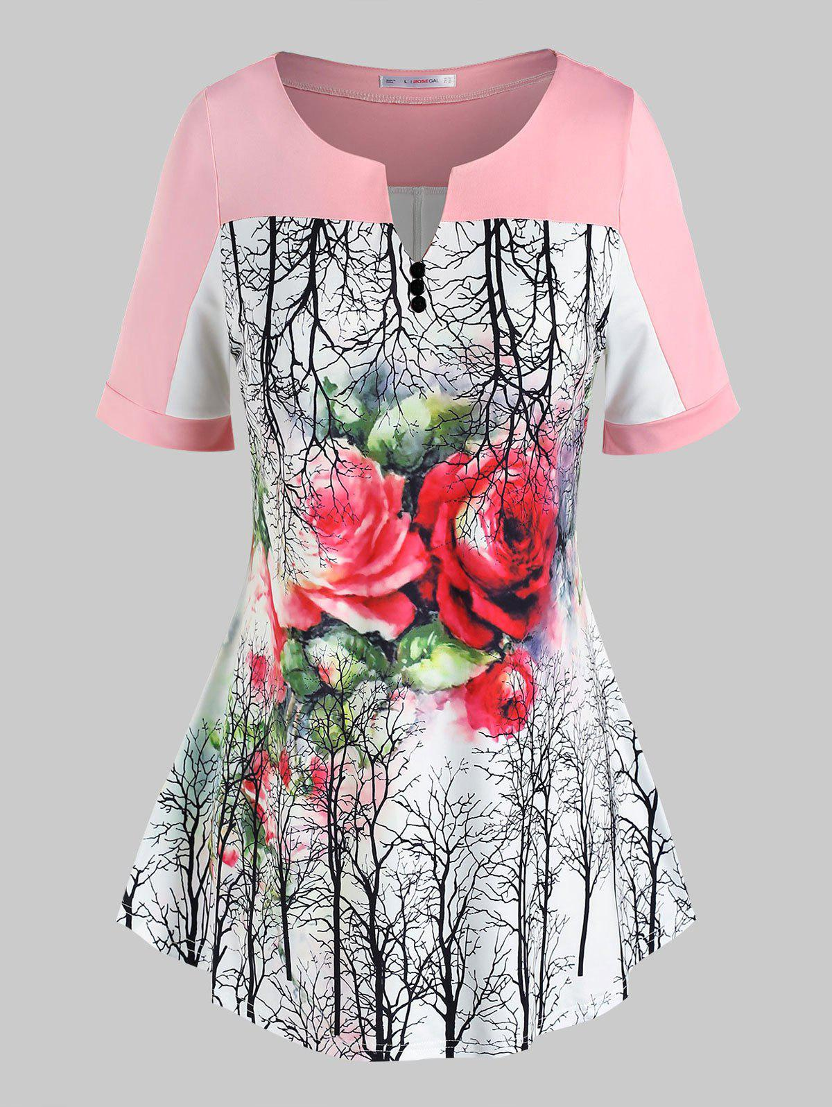 Chic Plus Size Floral Tree Print Swing Tee