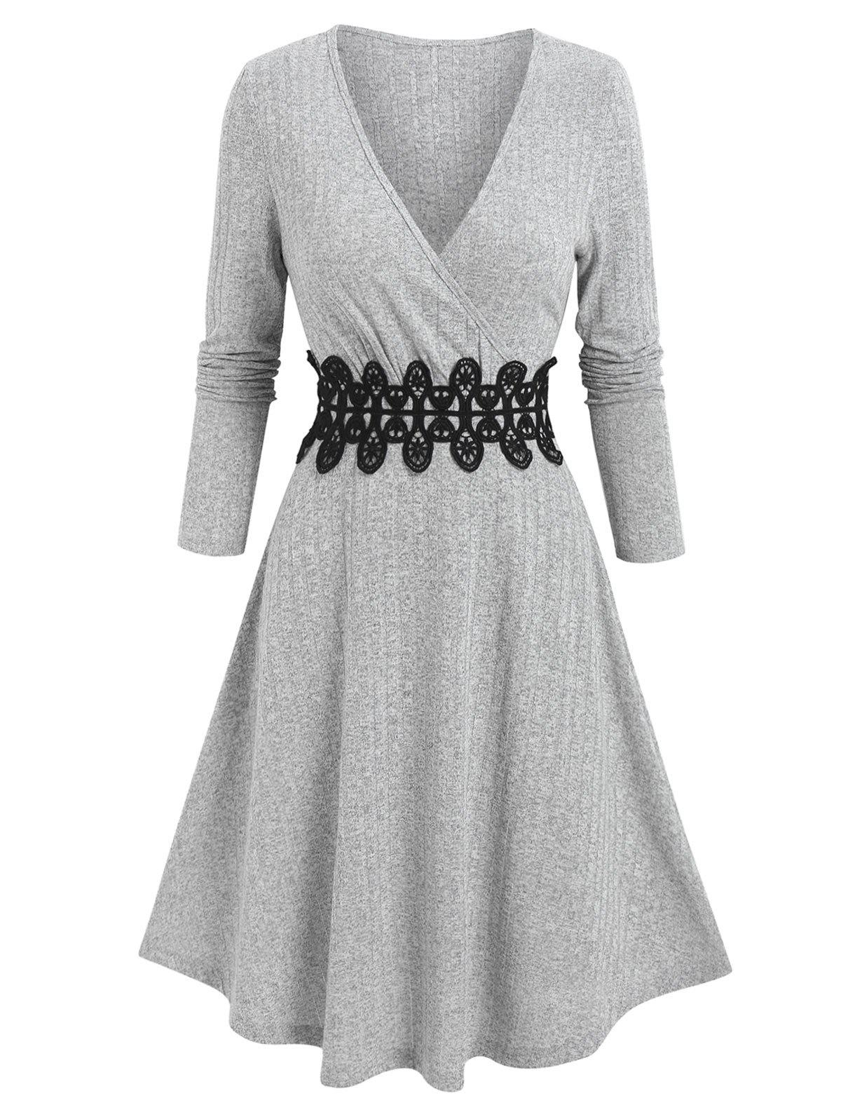 Outfits Ribbed Applique A Line Wrap Knitted Dress