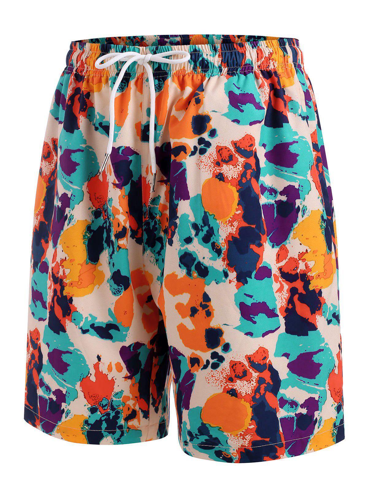 Fancy Drawstring Colorful Print Casual Shorts