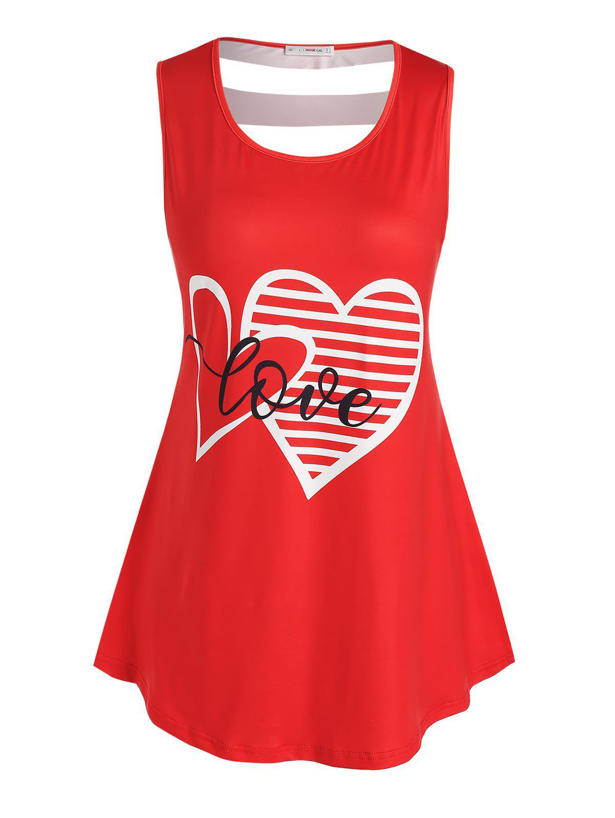 Best Plus Size Graphic Print Cut Out Tank Top