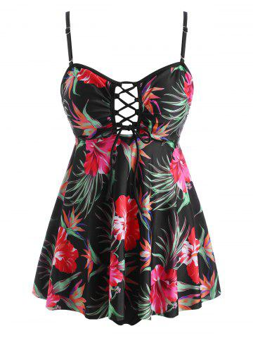 Floral Leaves Lace Up Open Back Tankini Swimwear - MULTI - 2XL