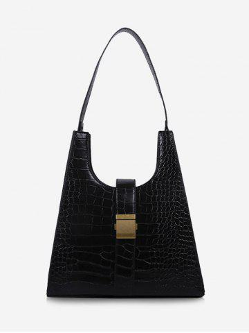 Buckle Embellished Textured Shoulder Bag