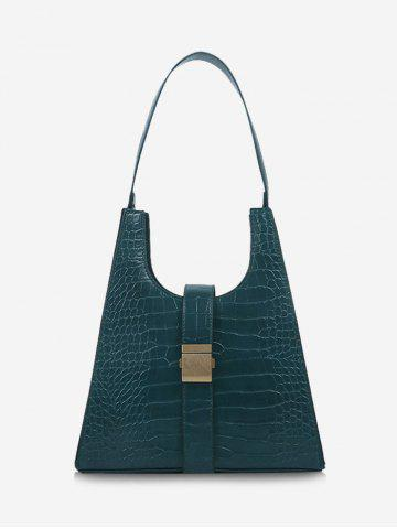 Buckle Embellished Textured Shoulder Bag - GREENISH BLUE