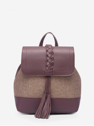 Tassel Braided Two Tone Travel Backpack