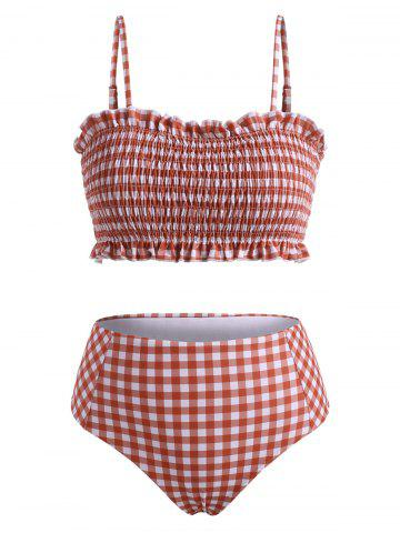 Spaghetti Strap Plaid Print Shirred Bikini Set - RED - L