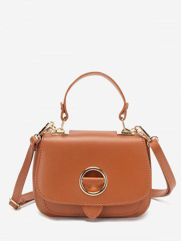 Solid O-Ring Embellished Crossbody Bag - LIGHT BROWN