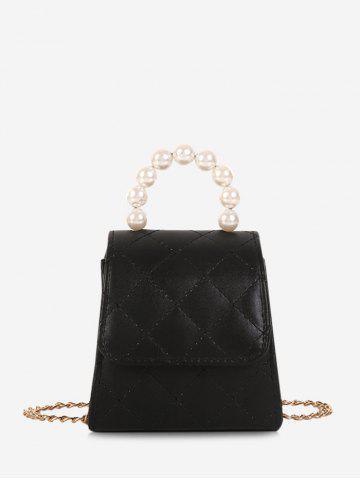 Faux Pearl Quilted Flap Mini Crossbody Bag - BLACK
