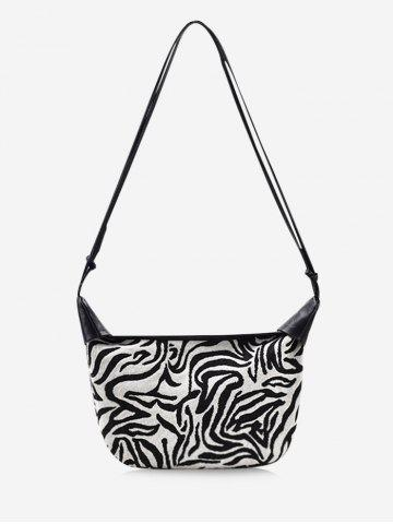 Zebra Stripes Pattern Casual Shoulder Bag - MILK WHITE