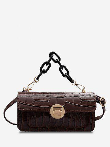 Stone Grain Chunky Chain Mini Crossbody Bag - LIGHT BROWN