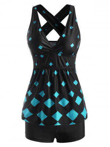 Rhombus Print Criss Cross Back Skirted Tankini Swimwear - LIGHT BLUE - 2XL