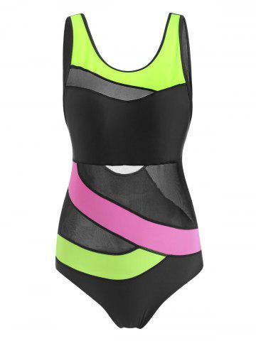Colorblock Mesh Panel Stitching One-piece Swimsuit