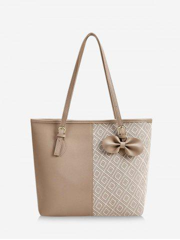Bowknot Patchwork Rhombus Pattern Tote Bag - CAMEL BROWN