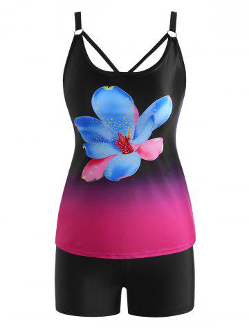 Floral Ombre Lattice Strappy Back Tankini Swimwear