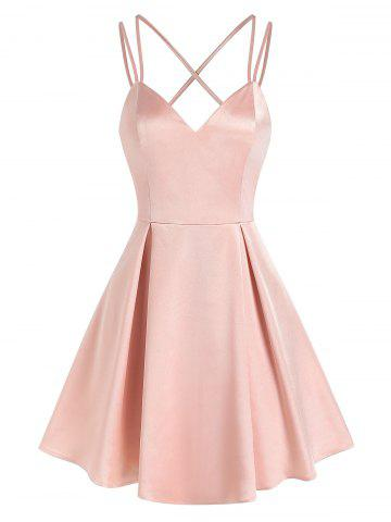 Strappy Open Back Pleated Satin Dress