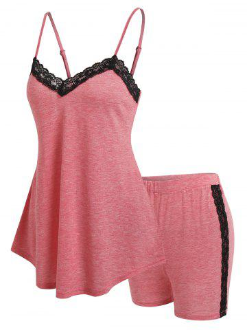 Lace Insert Tank Top and Shorts Lounge Set