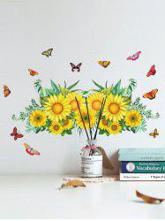 Sunflower Butterfly Pattern Removable Wall Stickers -
