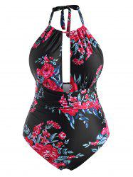 Plus Size Floral Print Open Back Padded One-piece Swimwear -