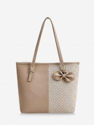 Bowknot Patchwork Rhombus Pattern Tote Bag -