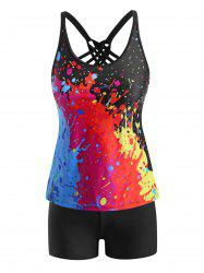 Paint Splatter Lattice Strappy Back Tankini Swimwear -