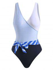 Striped Backless Belted One-piece Swimsuit -