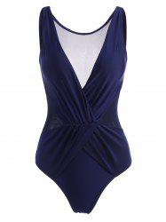 Mesh Panel Ruched Surplice One-piece Swimsuit -