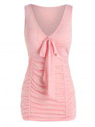Plus Size Ruched Bowknot Fitted Tank Top -