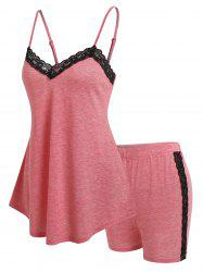 Lace Insert Tank Top and Shorts Lounge Set -