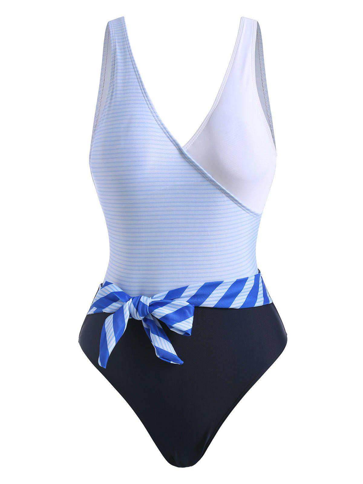 Best Striped Backless Belted One-piece Swimsuit