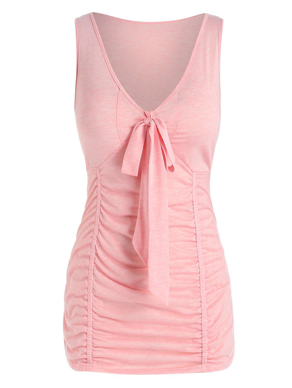 Store Plus Size Ruched Bowknot Fitted Tank Top