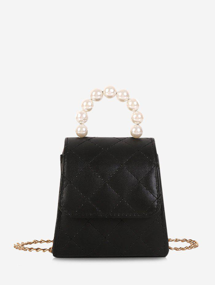 Outfits Faux Pearl Quilted Flap Mini Crossbody Bag