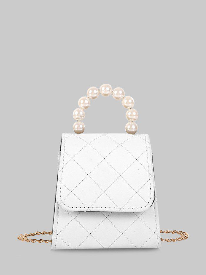 Hot Faux Pearl Quilted Flap Mini Crossbody Bag