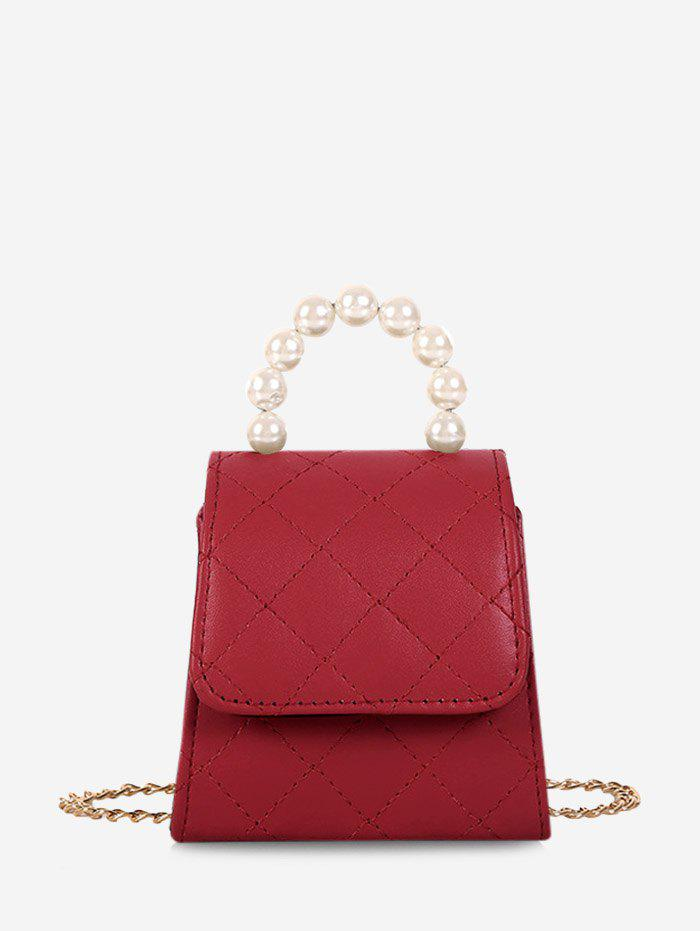 New Faux Pearl Quilted Flap Mini Crossbody Bag