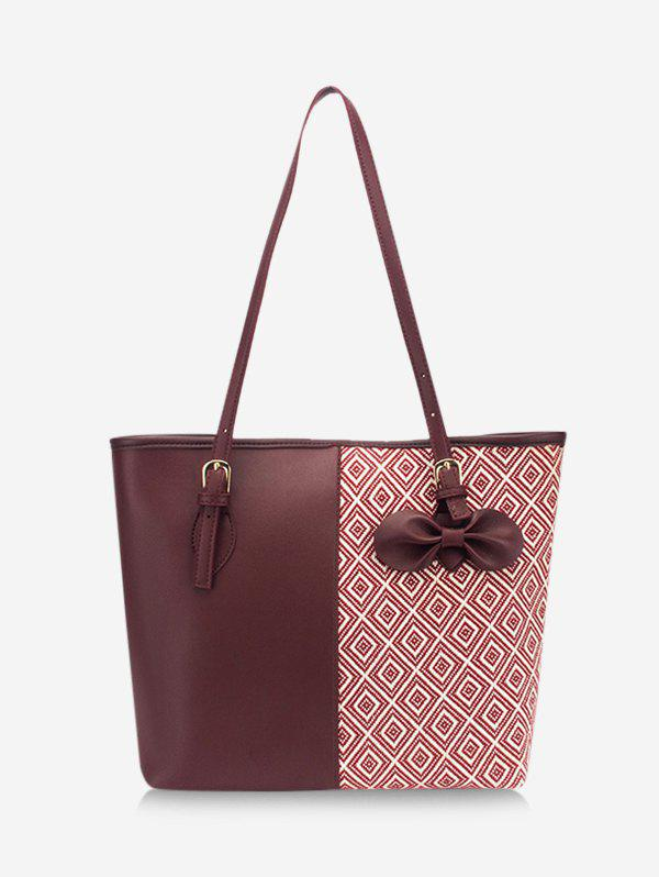 Fancy Bowknot Patchwork Rhombus Pattern Tote Bag