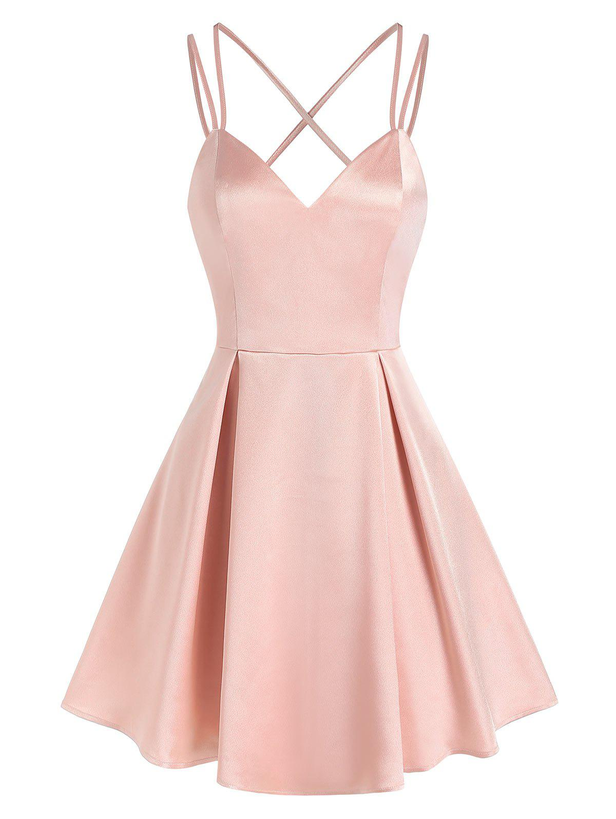 Chic Strappy Open Back Pleated Satin Dress
