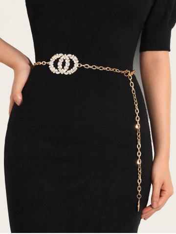 Round Shape Rhinestone Inlaid Waist Chain - GOLDEN