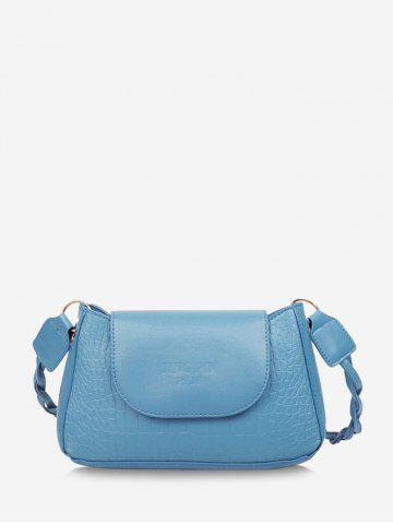 Embossed Letters Twist Strap Cover Shoulder Bag - DENIM BLUE