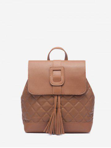 Solid Tassel Quilted Backpack - LIGHT BROWN